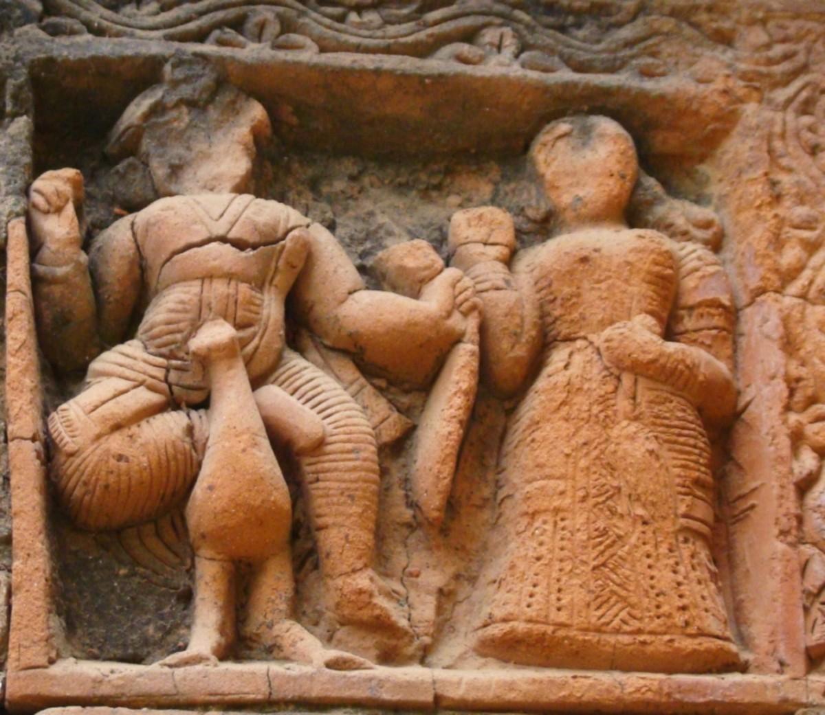 Terracotta art in Supur Twin Temples 14 (Lord Kartikeya oin a peacock)