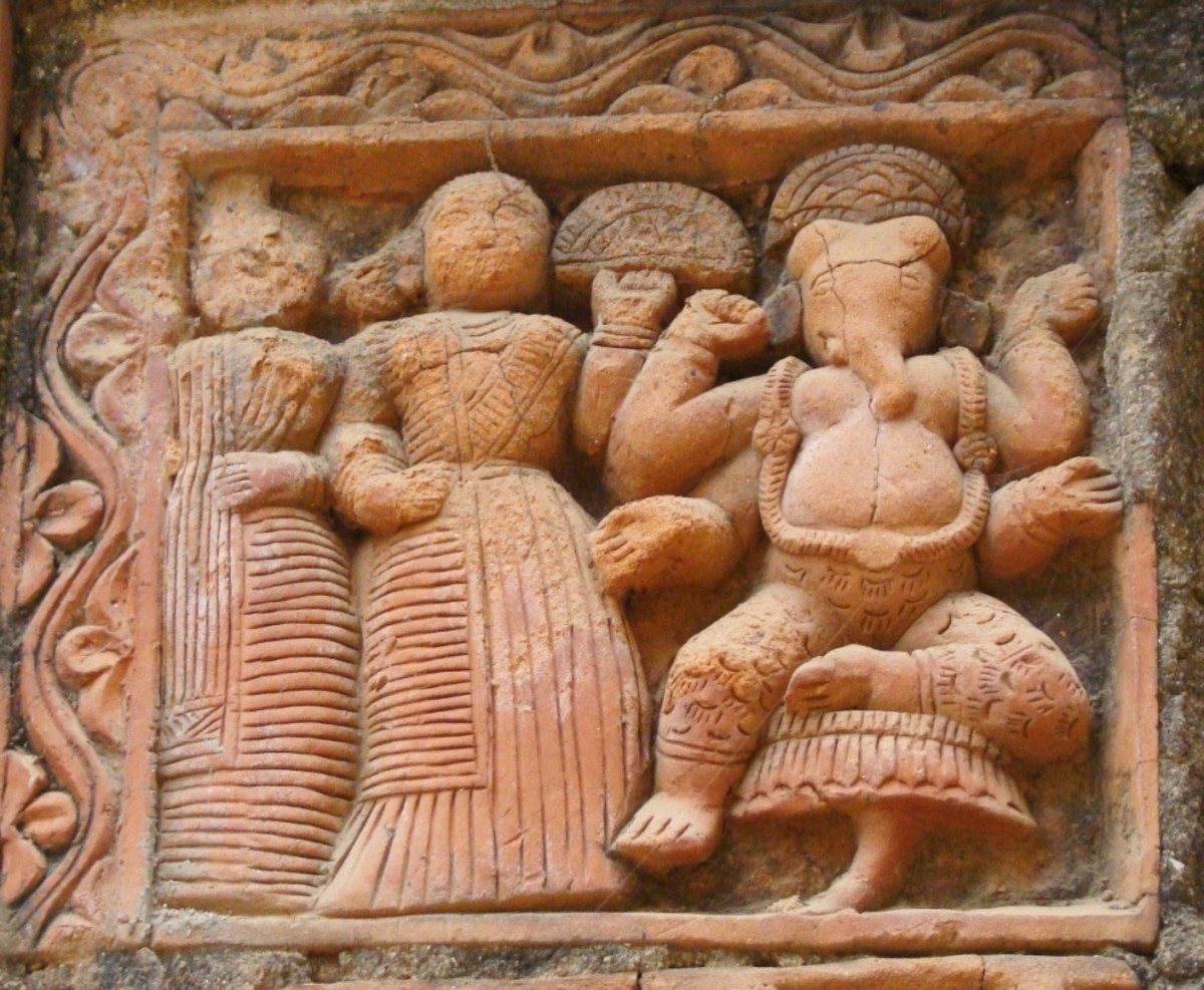 Terracotta art in Supur Twin Temples 13 (Lord Ganesha with ?His wives Riddhi & Sidddhi)