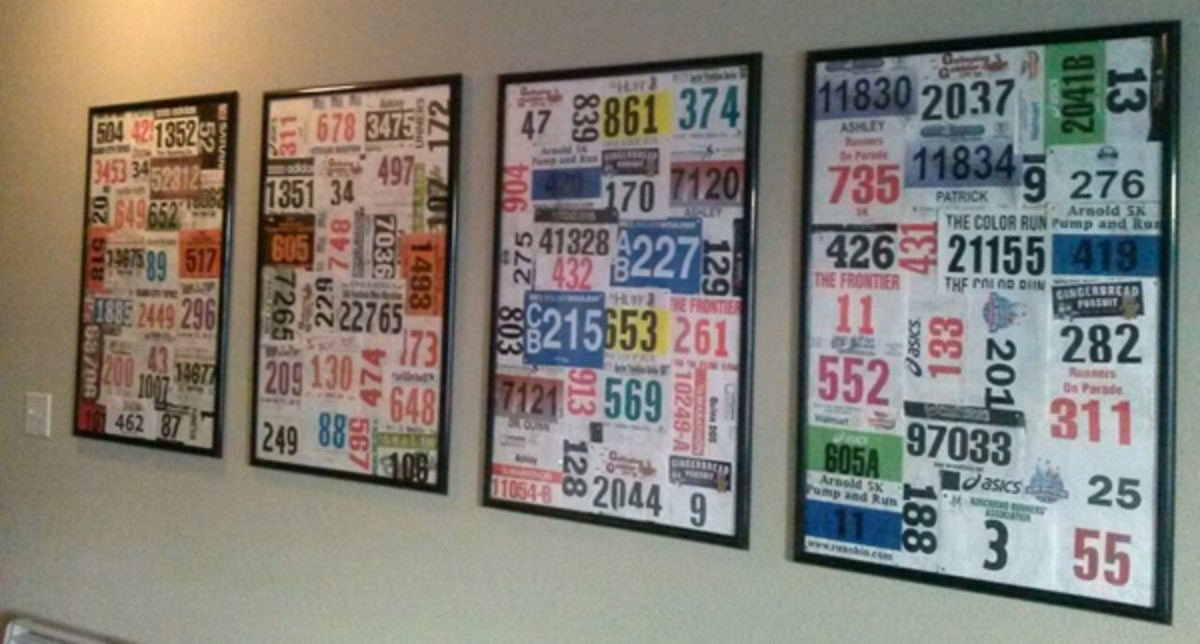Collages hung in a hallway by year.