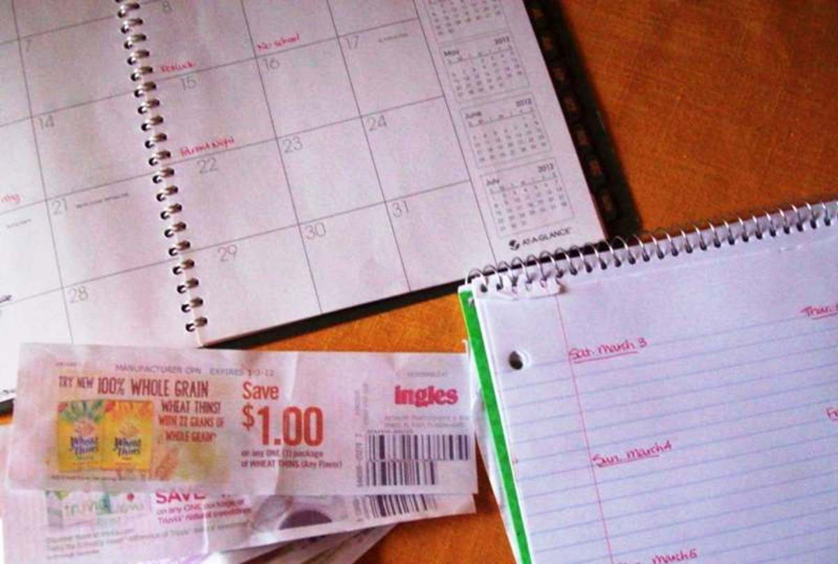 I'm gathering my materials to make my list.  I have my weekly sales flyer open on my computer, I've got my calendar, my menu laid out, as well as some store coupons.