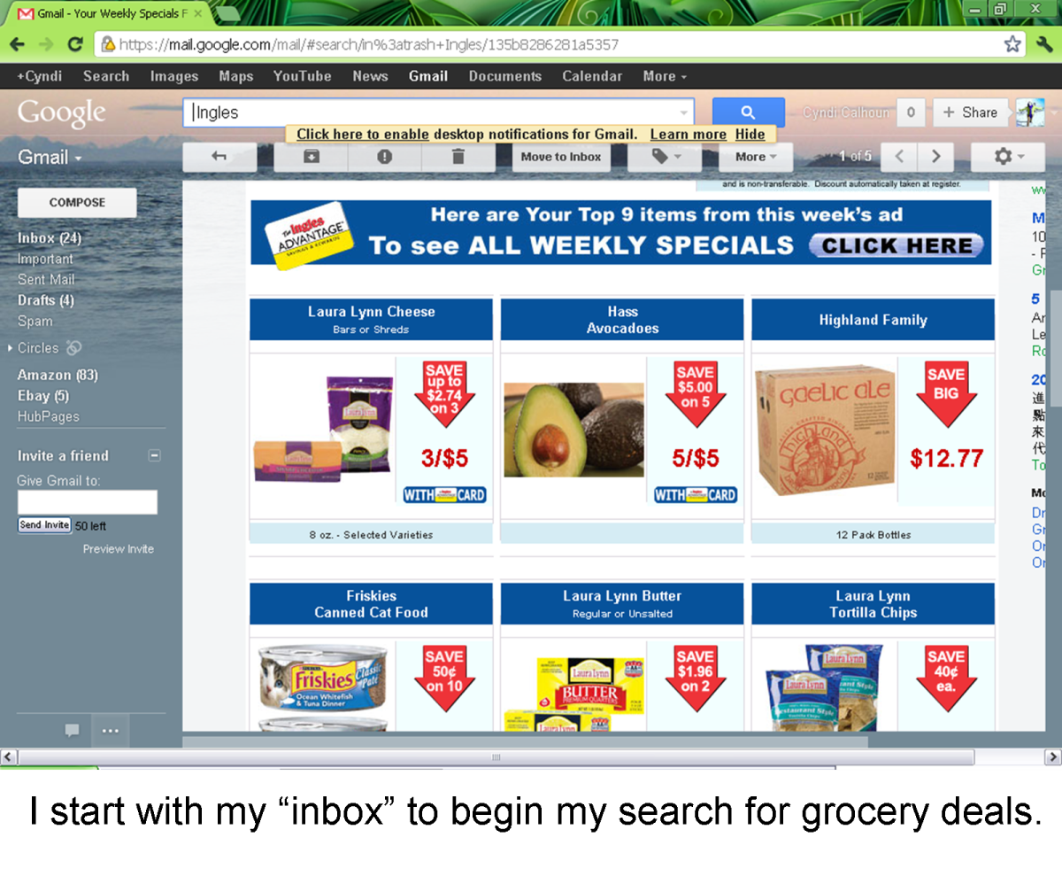 Screenshot of my Advantage Mail containing deals on things I buy frequently.