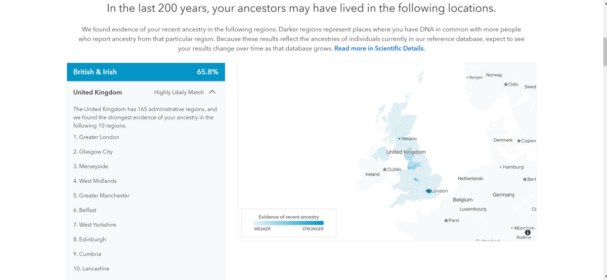 I took the DNA test with 23andMe. That enables them to pinpoint 10 regions where my ancestors lived within the last 200 years.