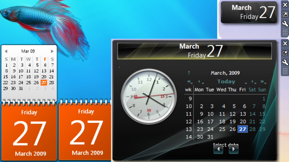 Windows 7 calendar.