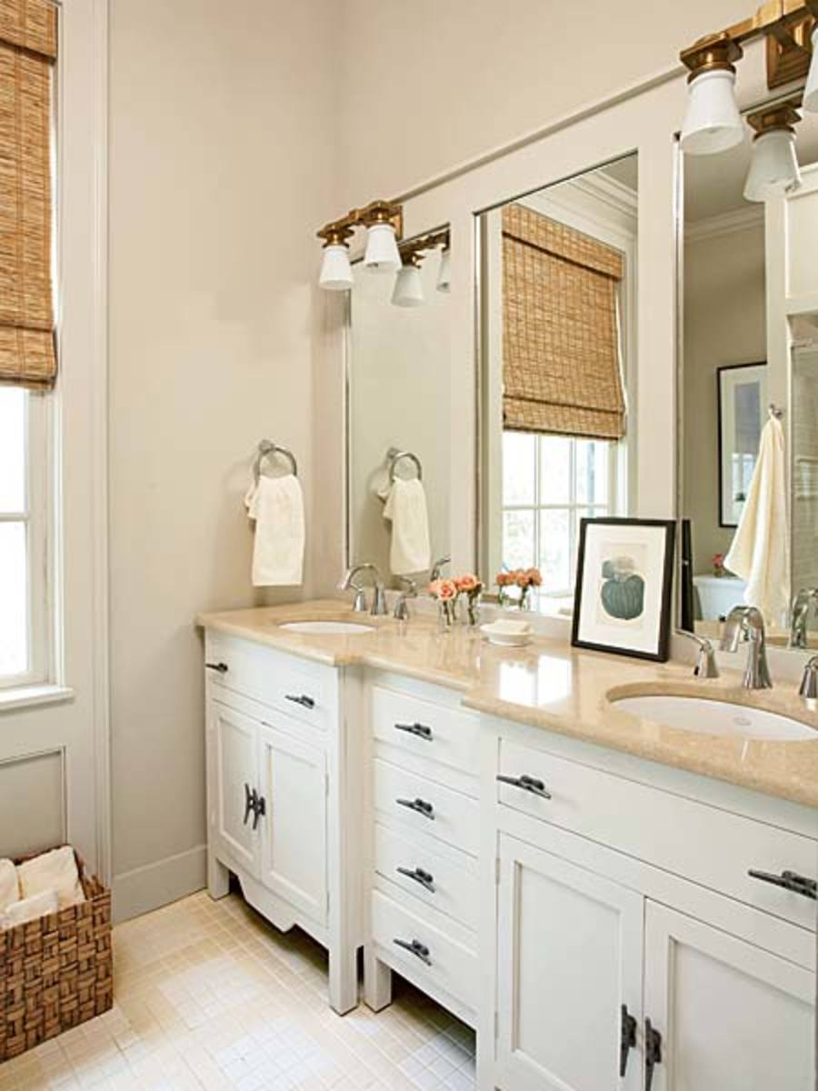 Nautical Bathroom with Cleats for Drawer Pulls