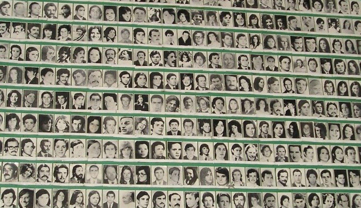 "Photos of ""los desaparecidos"", the disappeared in La Plaza de Mayo, Buenos Aires, Argentina."
