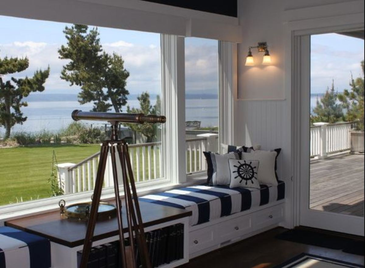 Blue and White Nautical Nook with Built In Seating Area
