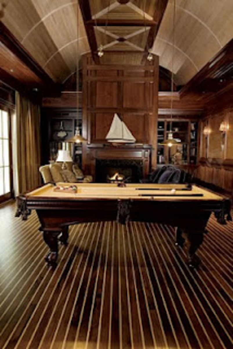 Teak Floor Mimic MaritimeElite Family Room Billiard Room with Nautical Floor and Extensive Wood Flooring