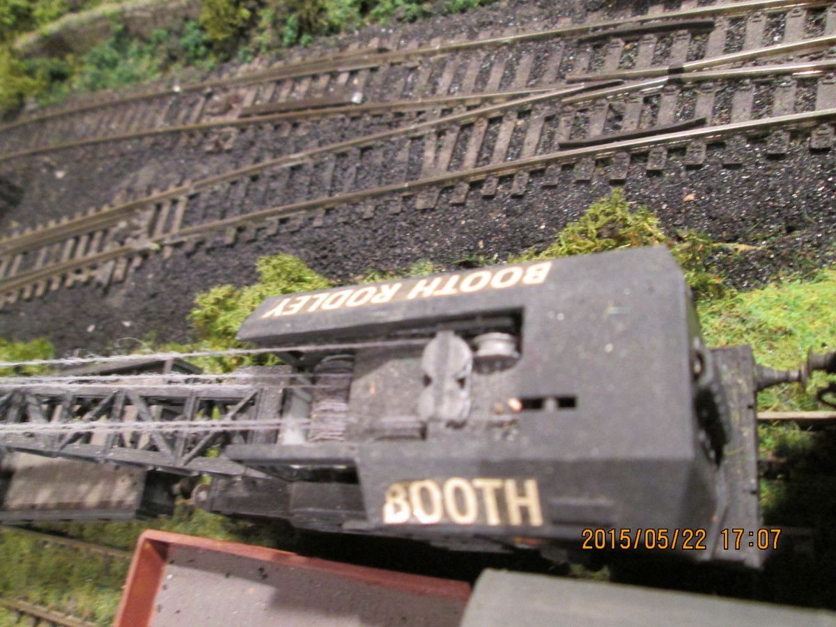 Done with the help of a 'Poppy's' ballast bin, looking down alongside the (Airfix/Dapol) engineer's crane near the shed throat