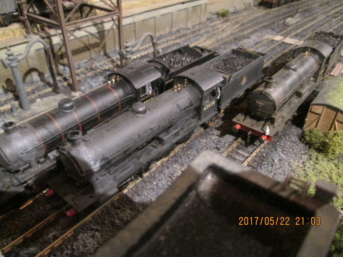 A pair of (Hornby) Q6 0-8-0 locomotives (63443 and 63420) and K1 2-6-0 62064 rest between turns at Ayton Lane mpd. See section on Ayton Lane below