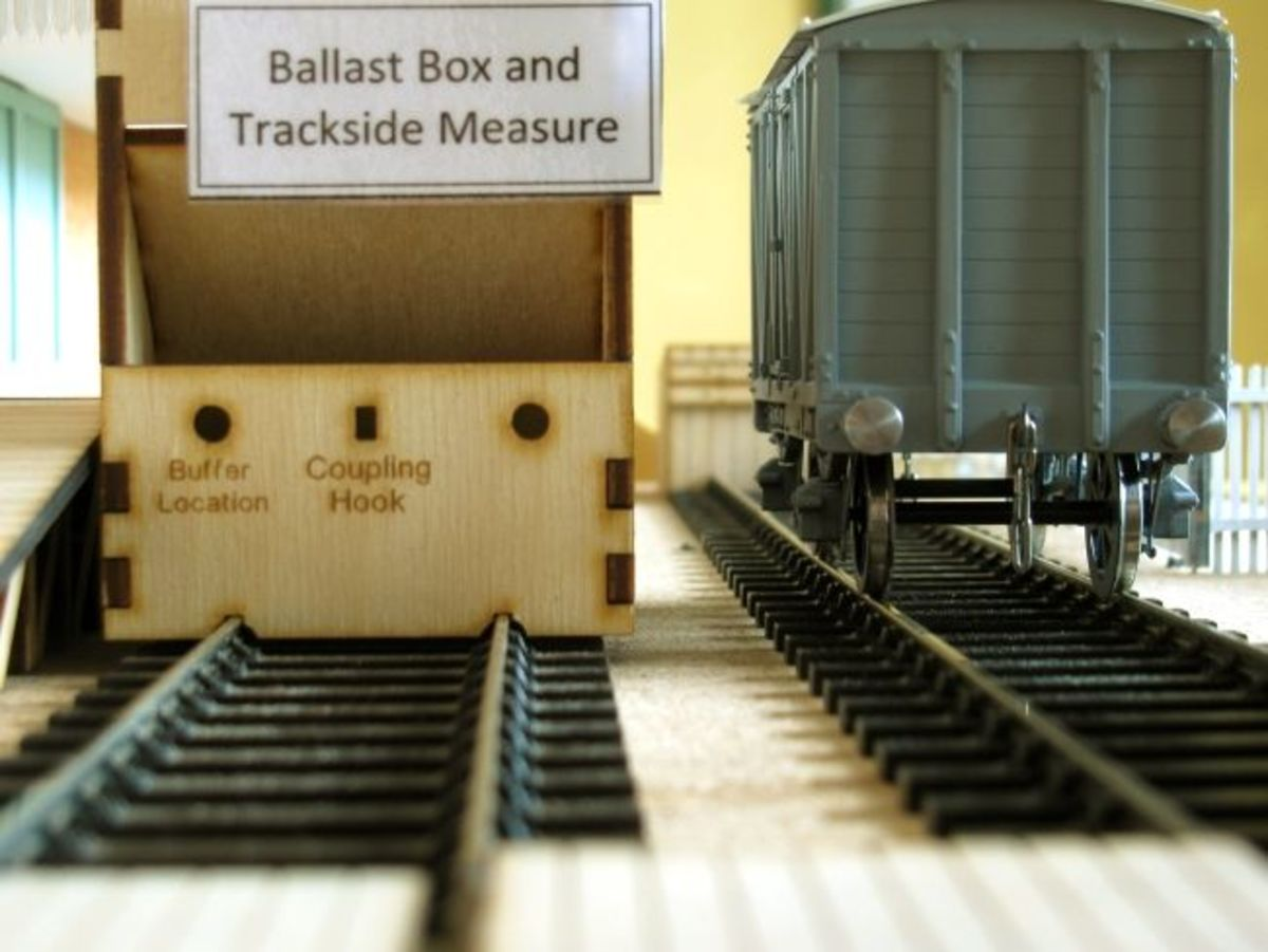 The box in relation to your stock, N, OO or O Gauge, with markings to show heights and relative positions