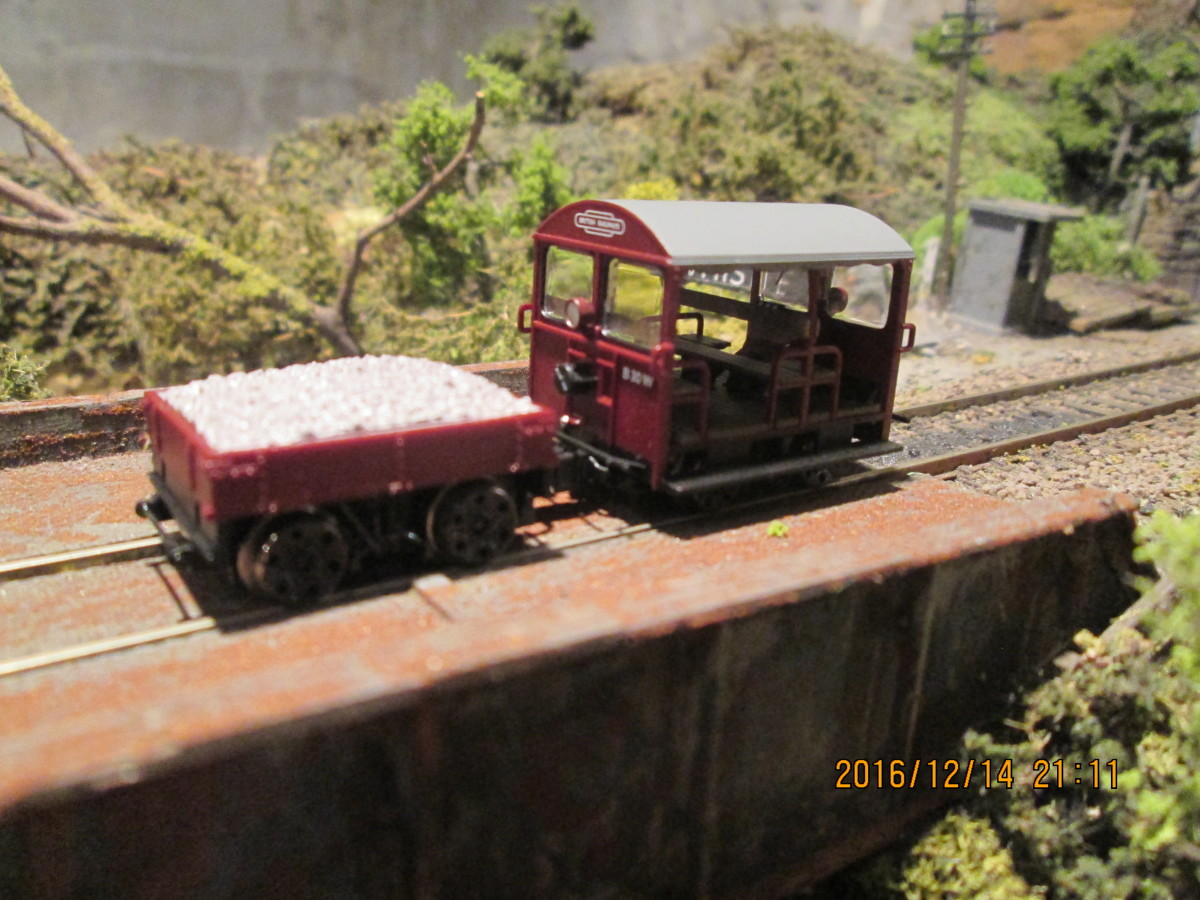 The trolley sits on the bridge at Ayton Row near the tunnel mouth with the fog hut behind