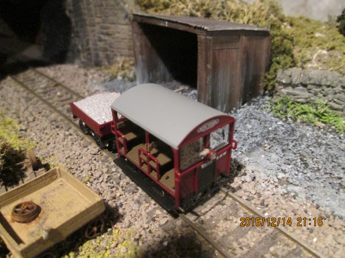 In situ beside the trolley shed - the Bachmann Wickham trolley shed bedded in near the tunnel mouth. Some work needed on the trolley to bring it up to scratch - like driver and 'passengers', and  the trailer needs a look at