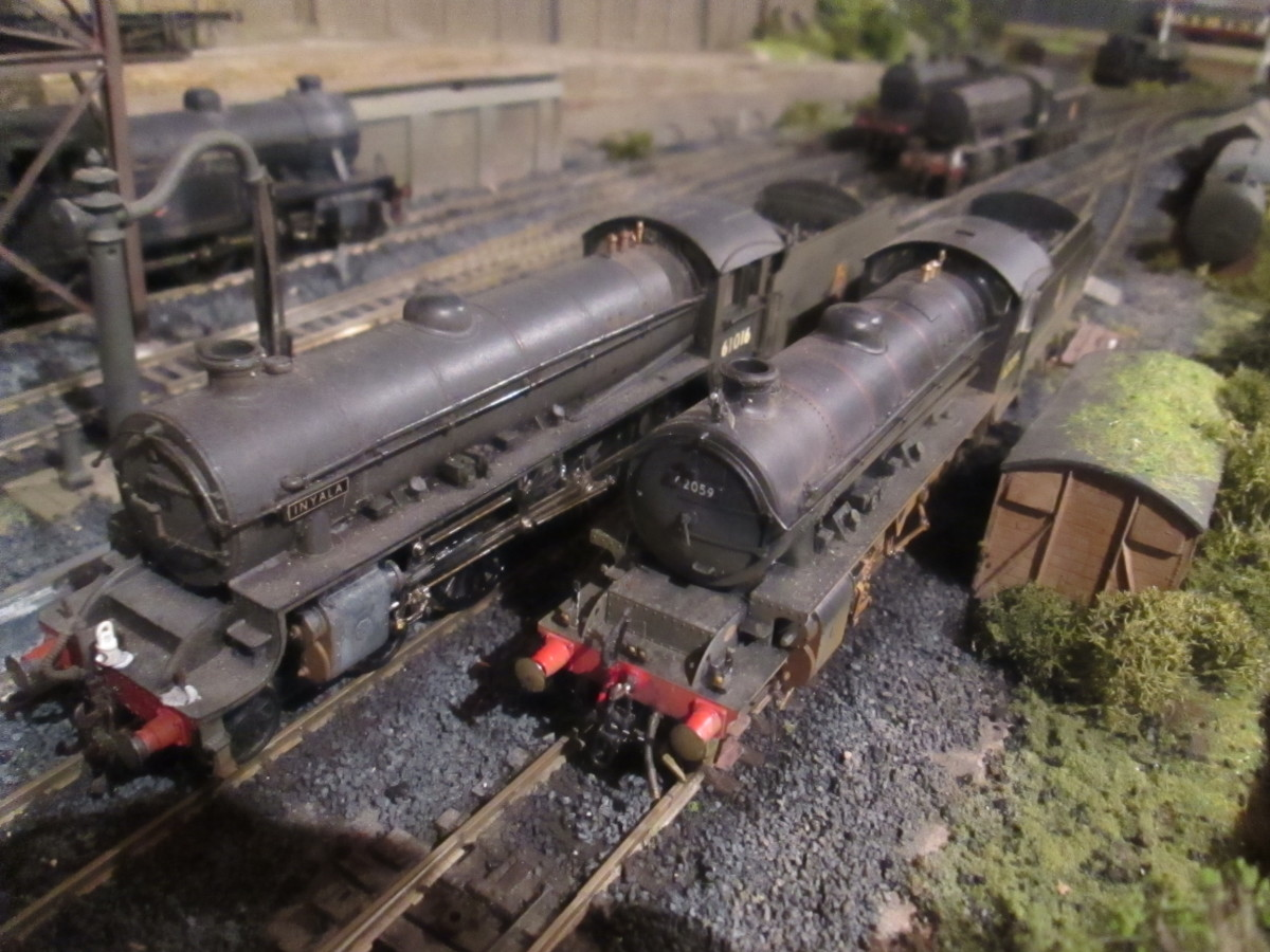 Resting side-by-side on the 'standing roads': (Bachmann) B1 61016 'Inyala' of York 50A  and (Hornby) K1 62059 of Darlington 51A with (Bachmann) WD 90446 and far left V3 67685, both of 51D Middlesbrough