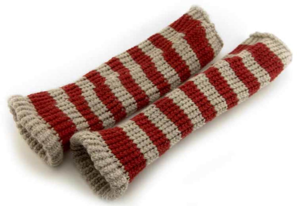 Knifty Knitter striped leg warmers