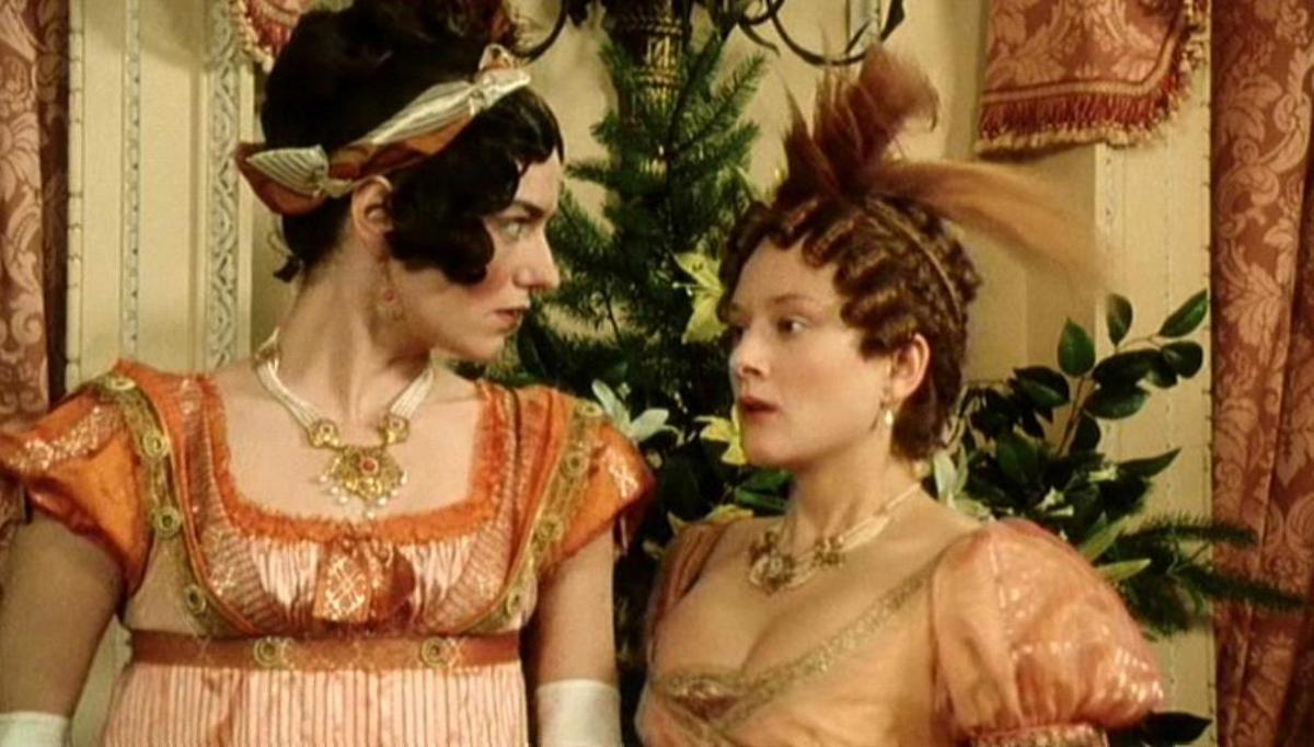The richly attired Miss Bingley and Mrs Hurst. From the BBC drama, Pride and Prejudice