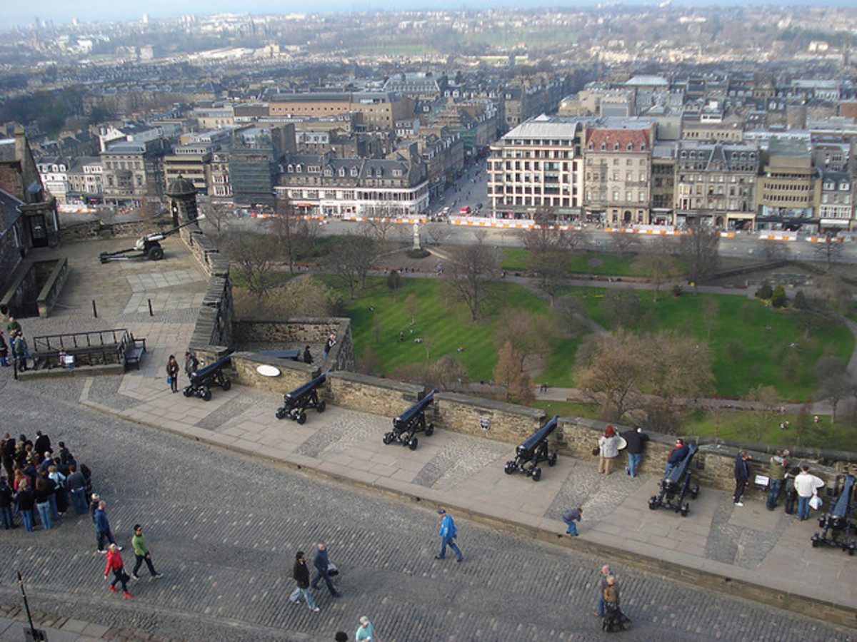Row of ornamental cannons and the One O'Clock gun