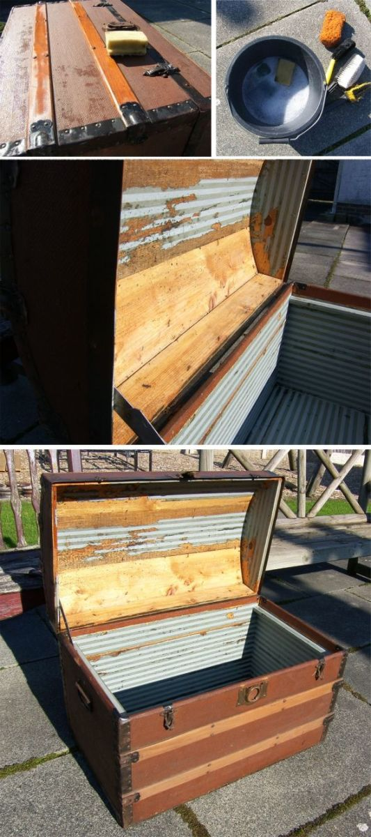 How To Revamp Vintage Wooden Chest Fabric Amp Wood Panel