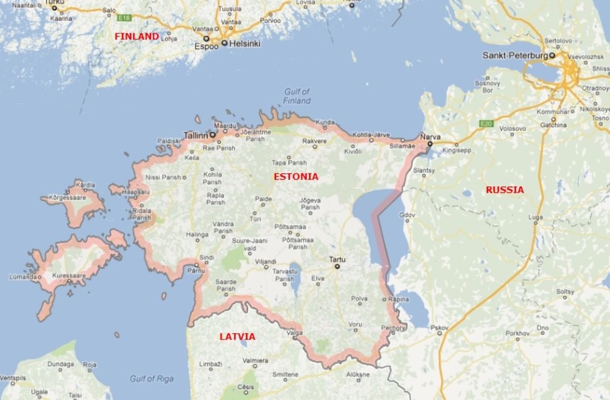 Estonia (extreme northeast of the European Union), population 1.3 million, area 17,500 sq miles (45,000 sq km).