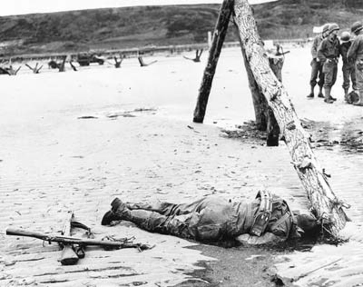A dead soldier lies near an obstacle. Two guns mark his sacrifice.