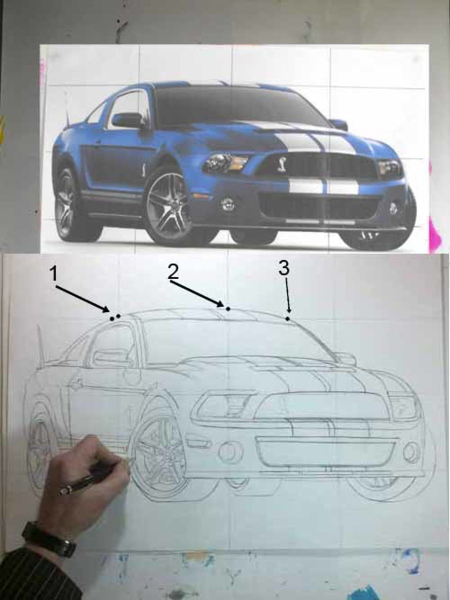 How to draw a car step by step, Mustang Shelby GT500 with marker pens and pencil.