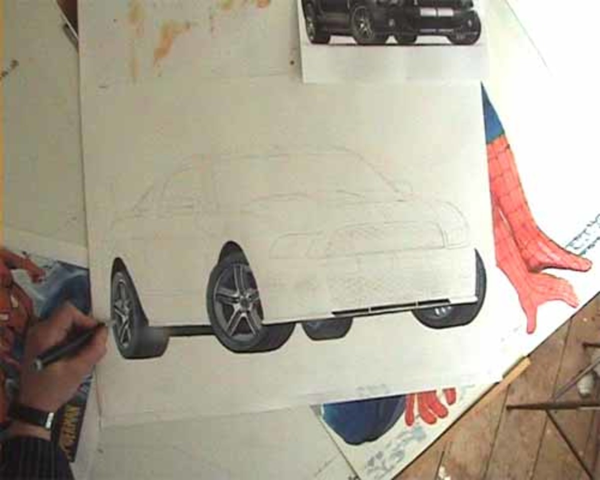 Drawing the wheels nearly finished, Mustang, Shelby, GT 500.