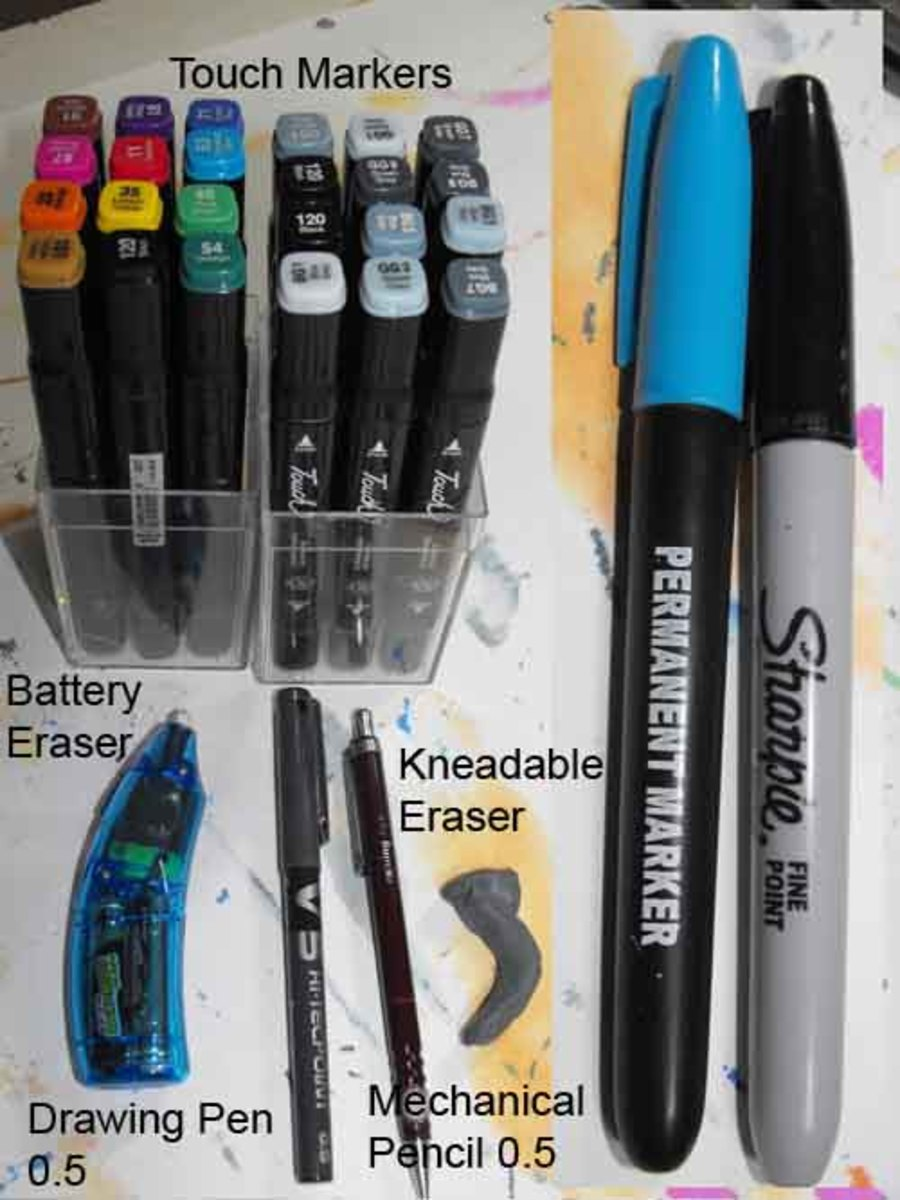 Tools used to draw the Mustang Shelby GT500, 2010 model.