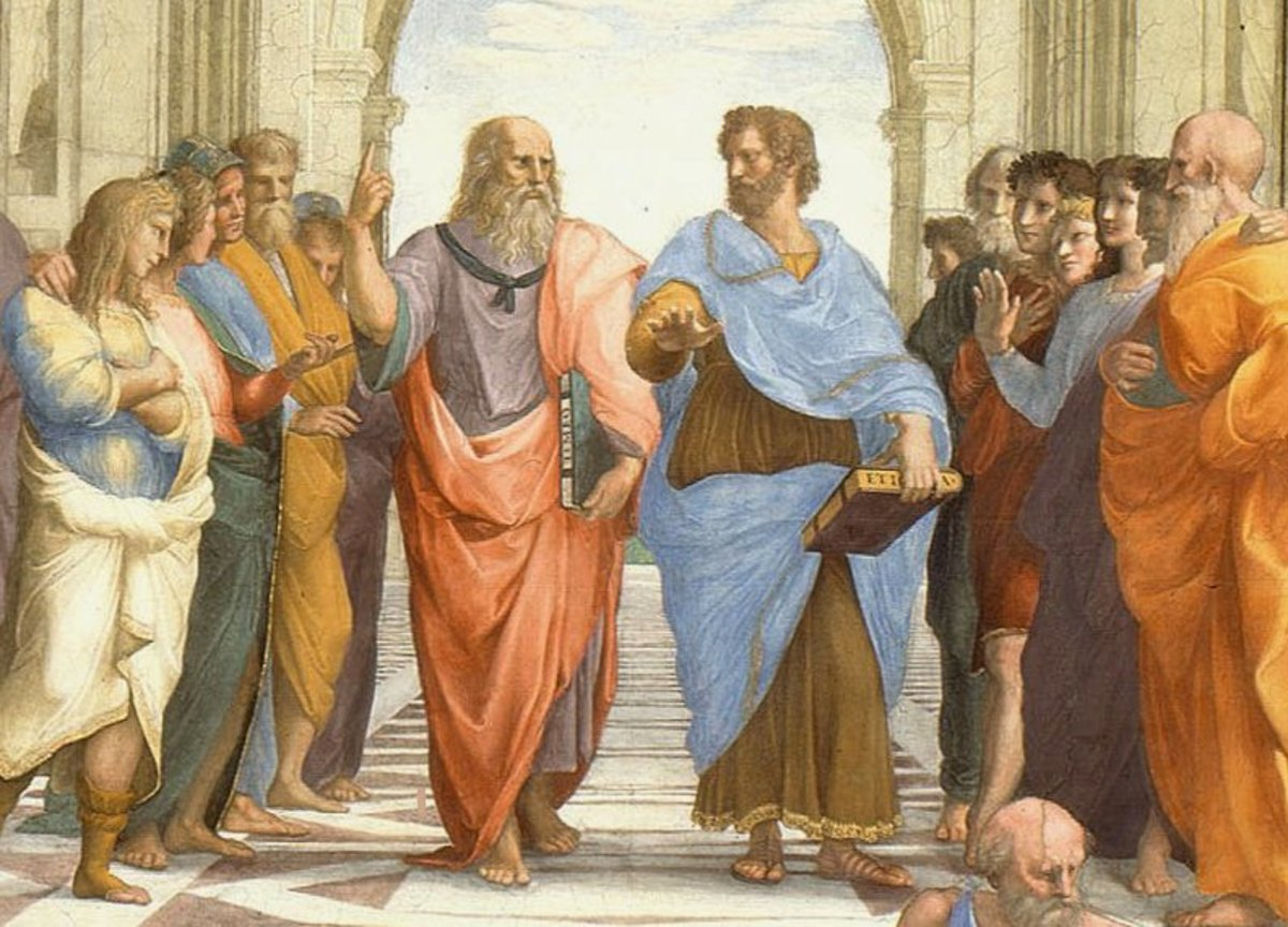 Plato (center left) made it clear more than once that the Atlantis story was a true one. Was he lying? Or did he give us the truth as best as he could?