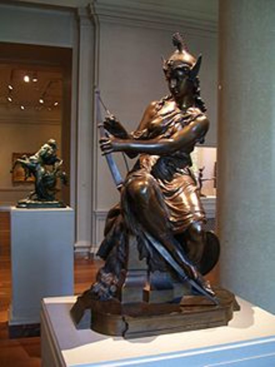 Statue of Amazon preparing for the battle (Pierre-Eugene-Emile Hebert, 1860), National Gallery of Art Washington, DC.