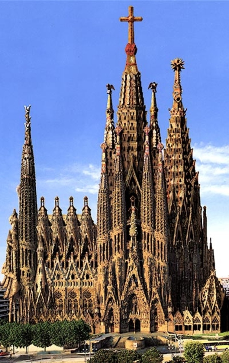 The Sagrada Familia is probably Gaudi's most famous design and has been under construction since the 19th century and is still not finished
