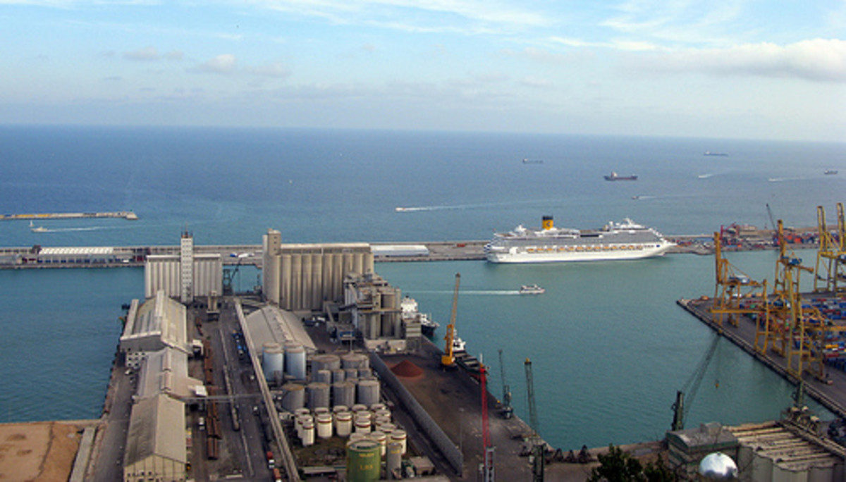 View from Montjuic of Costa Cruise Ship berthed at Palacruceros cruise terminal on Quai Adossat