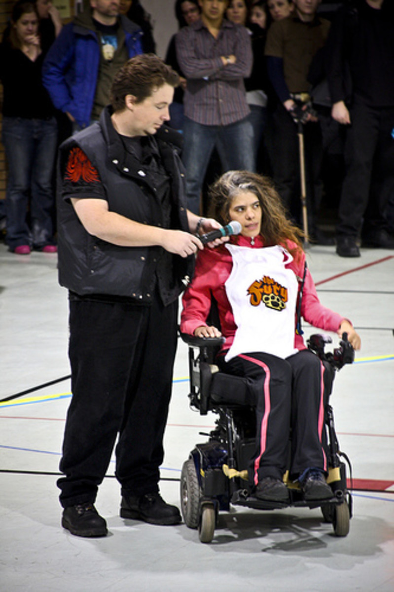 Former roller derby player, with spinal cord injury