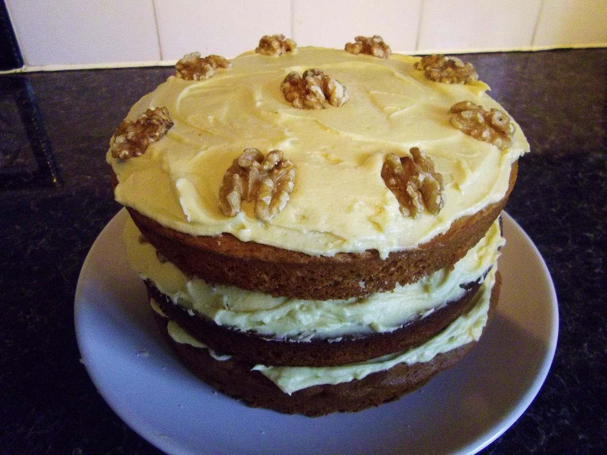 Coffee walnut cake with frosting.