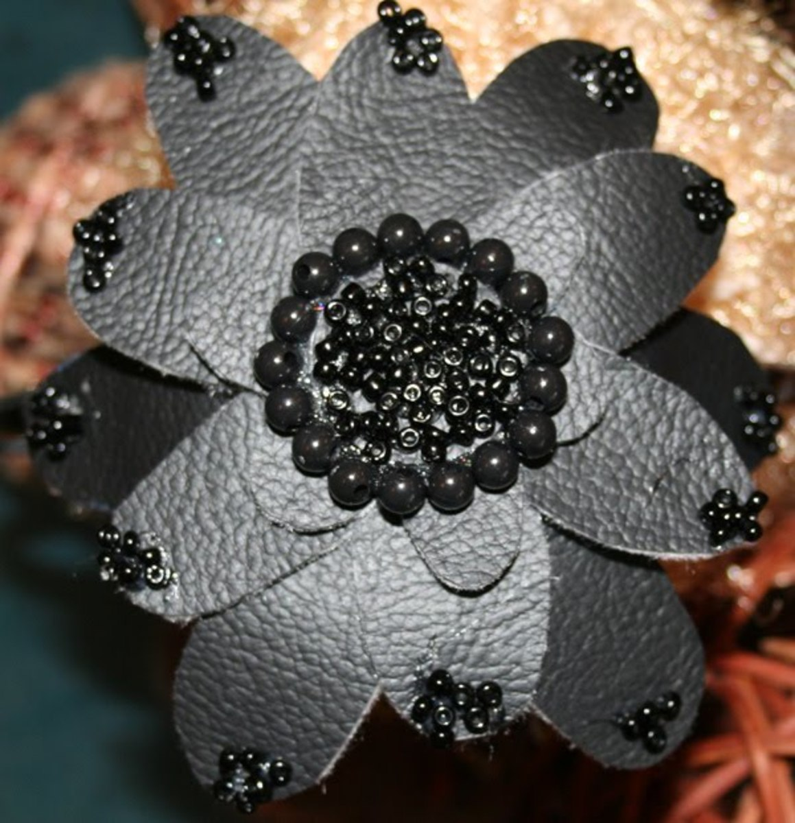 "5"" Black Flower Headband"