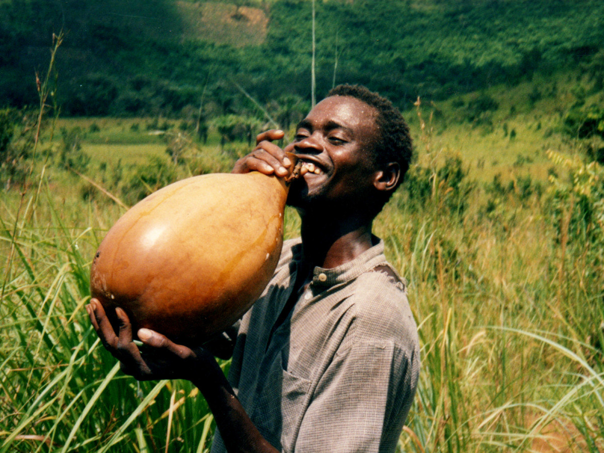 Drinking palm wine from a calabash photo posted by Nick Hobgood
