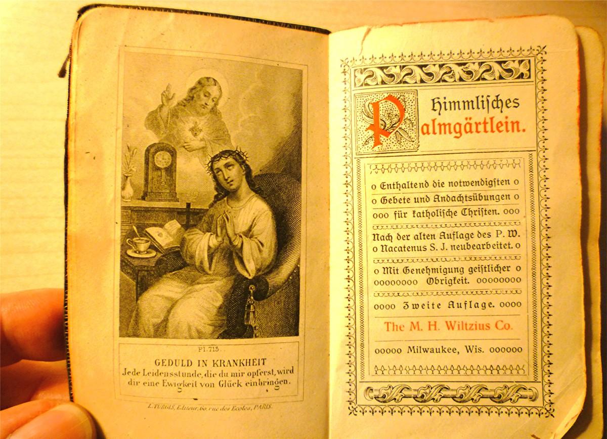 Beautiful illustrations inside of my grandmother's little antique German prayer book.
