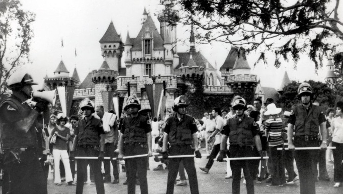 Riot Control Officers in Front of Sleeping Beauty Castle
