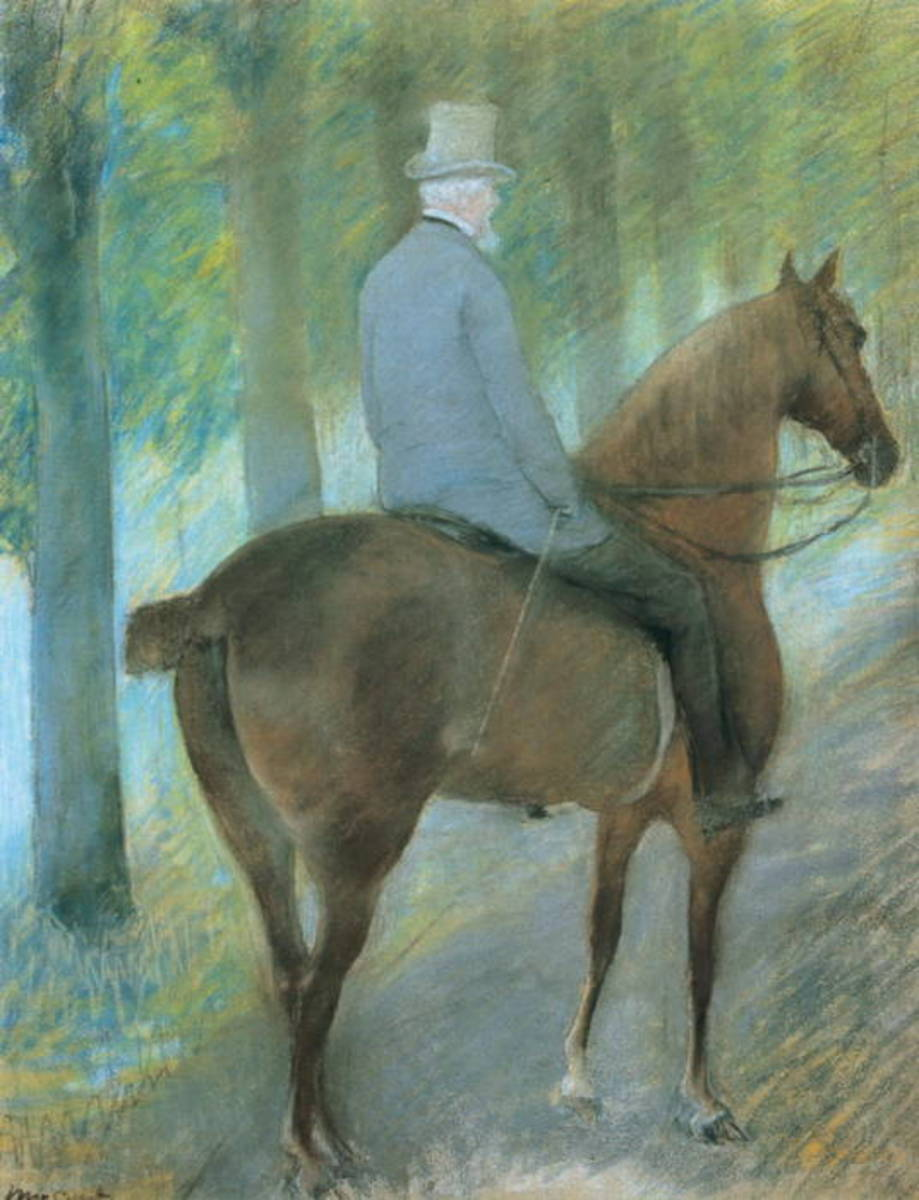 THE WORK OF A YOUNG MARY- PAINTING OF HER FATHER ON HORSEBACK (1855)