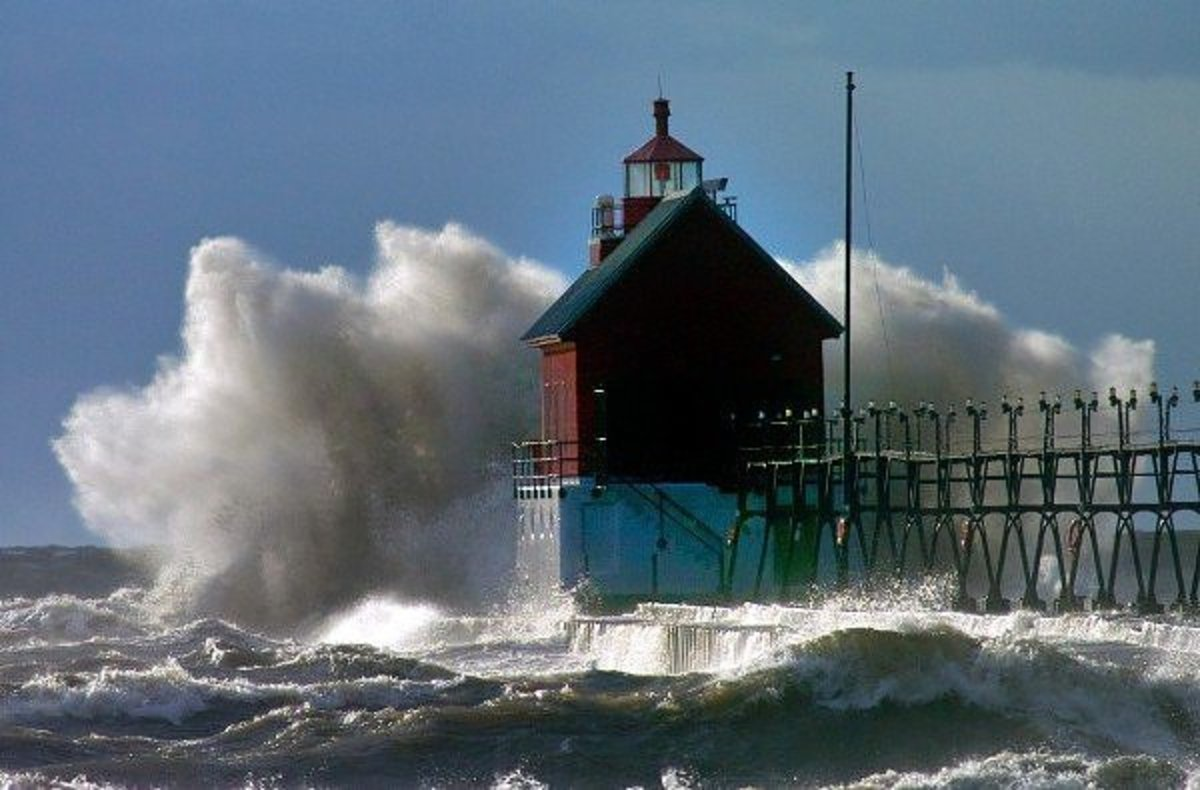 Force of the waves in Lake Michigan