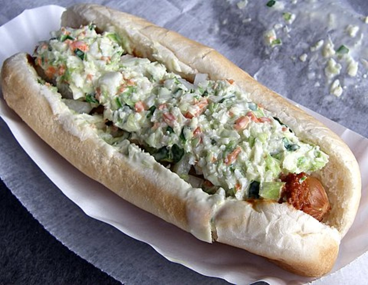 The slaw dog is popular from West Virginia down to Florida. Chili with no beans is always served on hot dogs in the south.