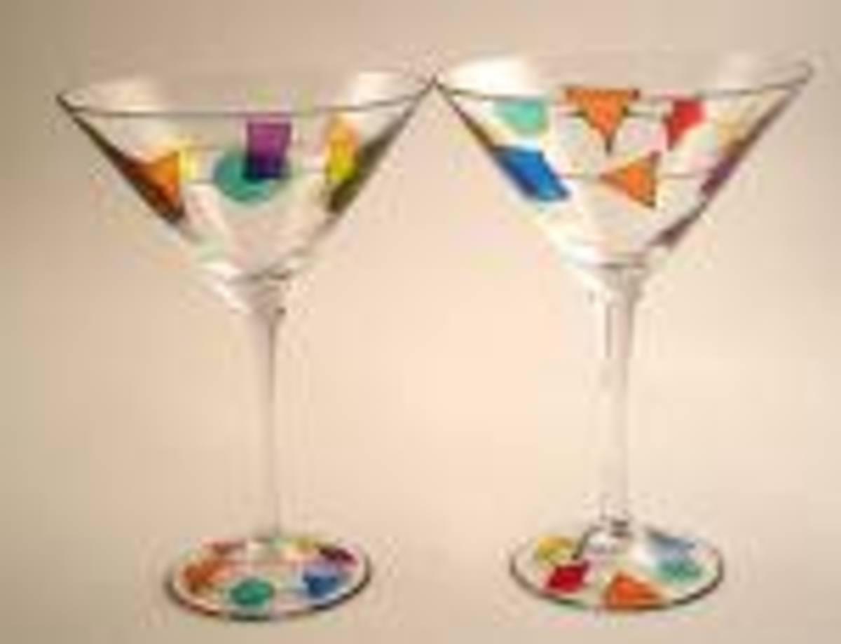 Hand Painted Martini Glasses