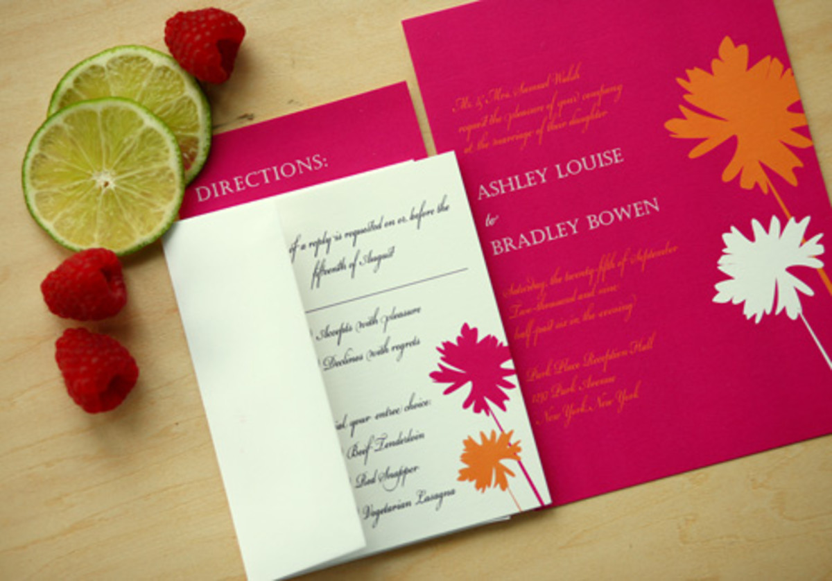 Fuchsia & Tangerine Invitations from Modern Girl Invitations