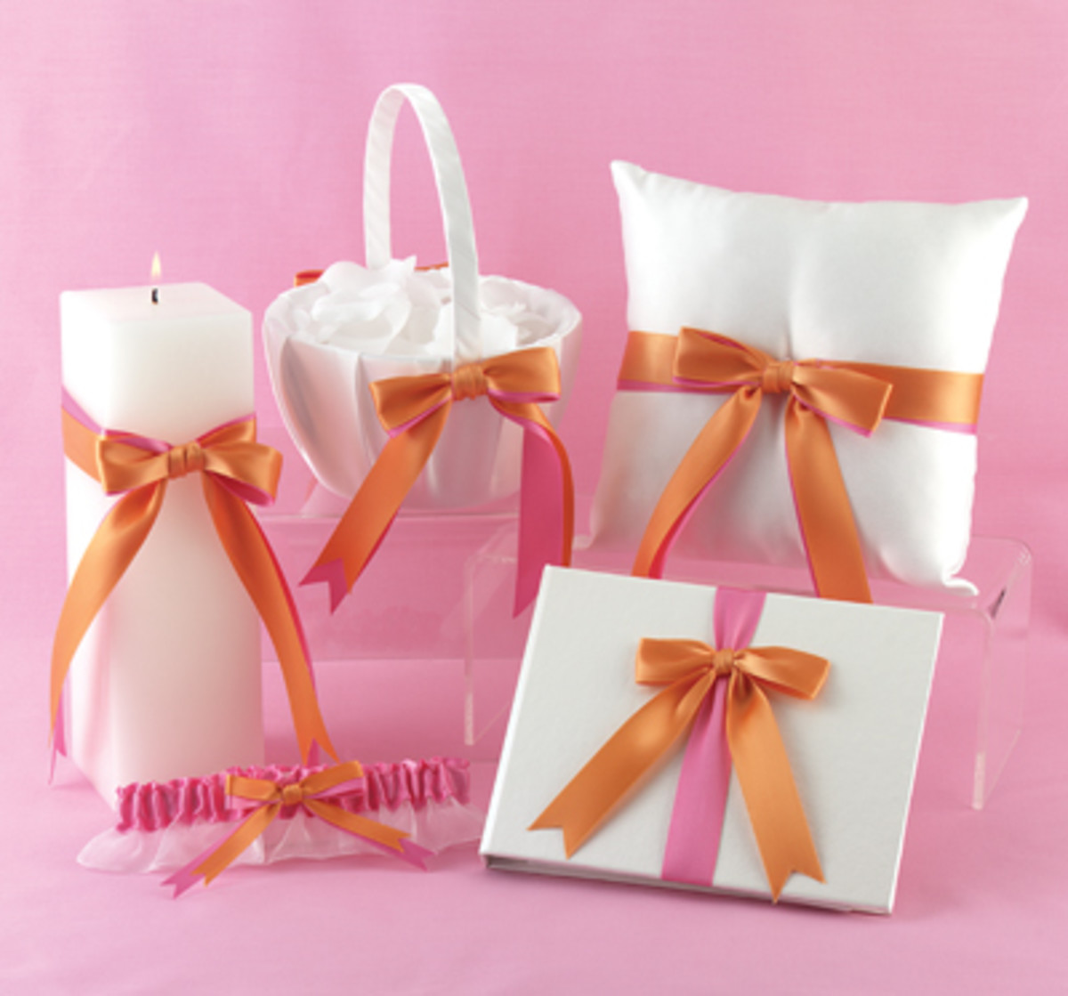 Fuchsia & Orange Custom Ribbon Collection from Wedding Favors Unlimited