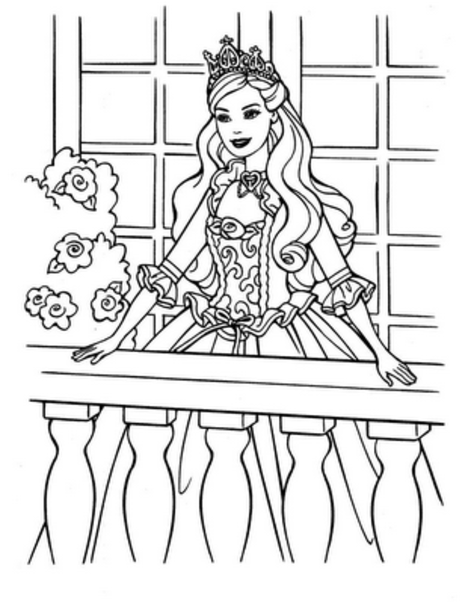 Barbie Colouring Pictures to Print-and-Colour.  Balcony Photo