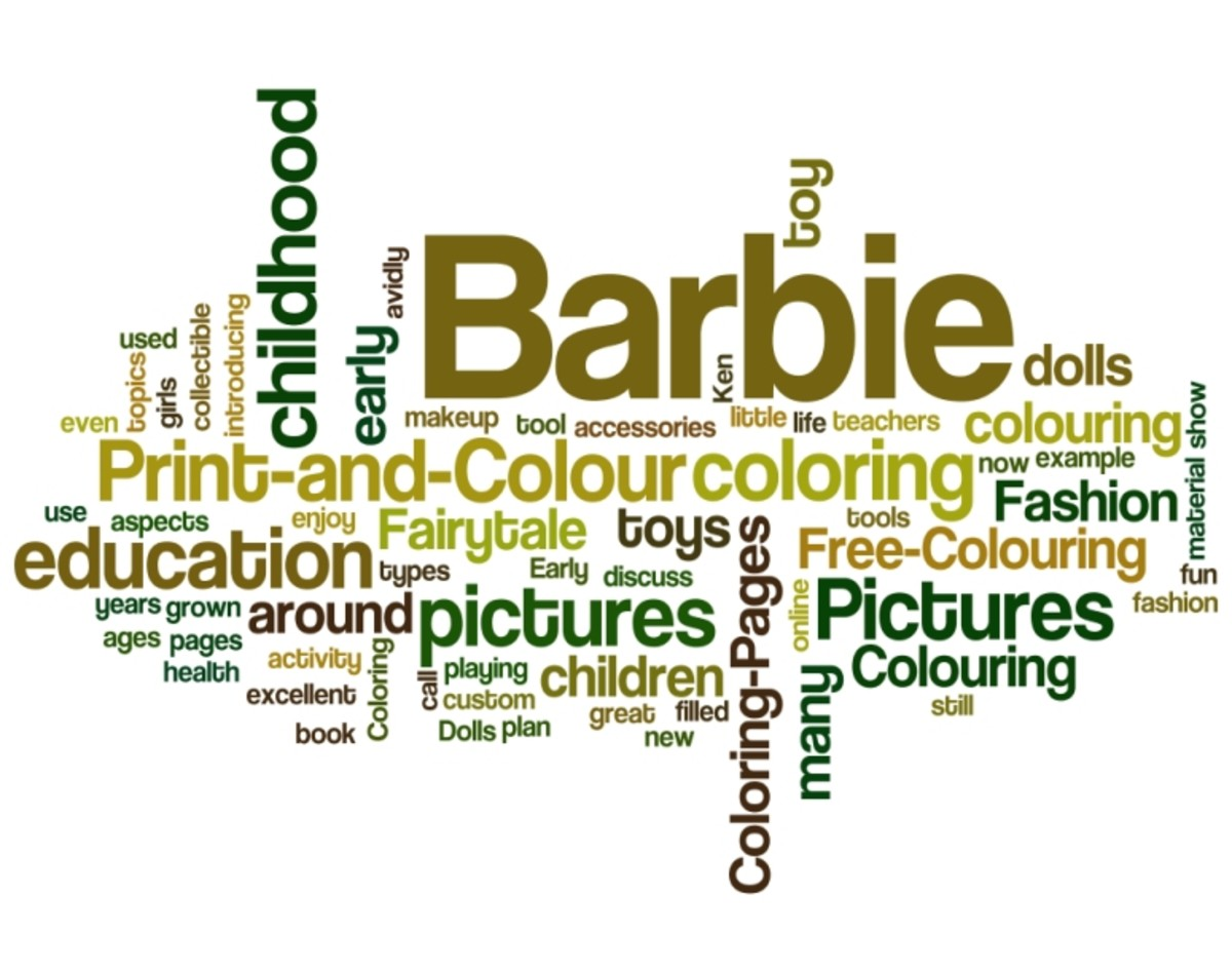 Barbie Fashion Colouring Pictures Word Cloud