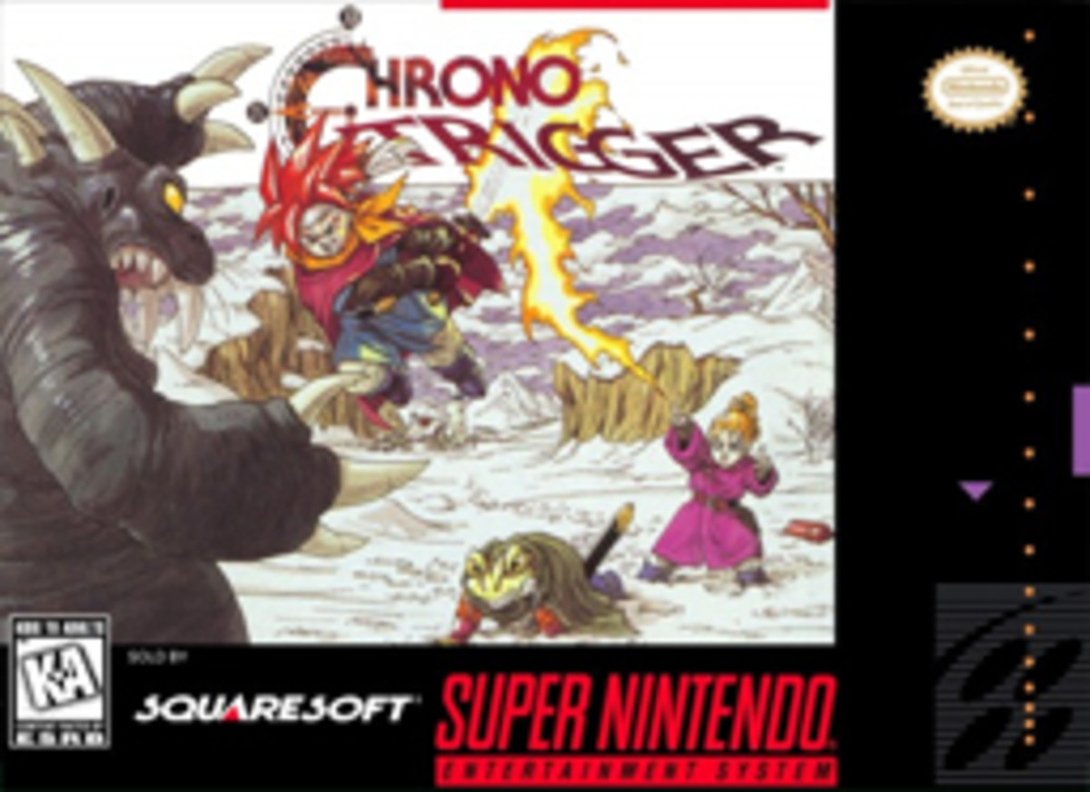 This is the NTSC U/C front cover art of Chrono Trigger for the Super Nintendo, developed and published by Square Enix and with characters designed by Akira Toriyama.