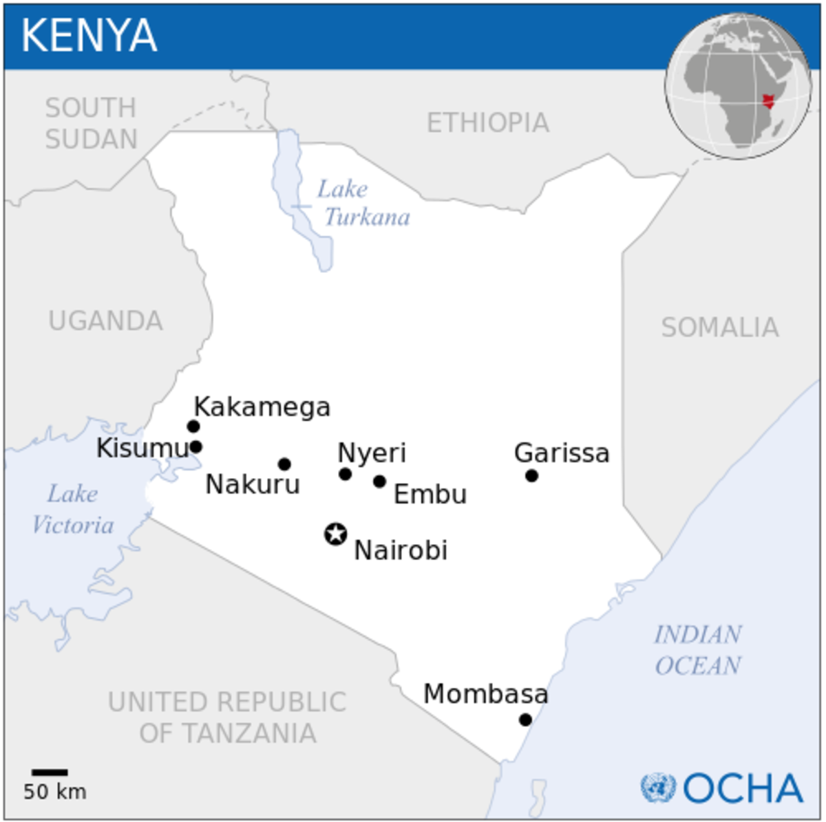 Locator map of Kenya.