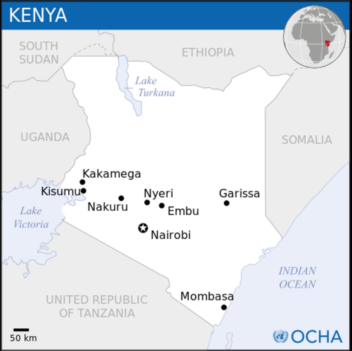 Locator map of Kenya.