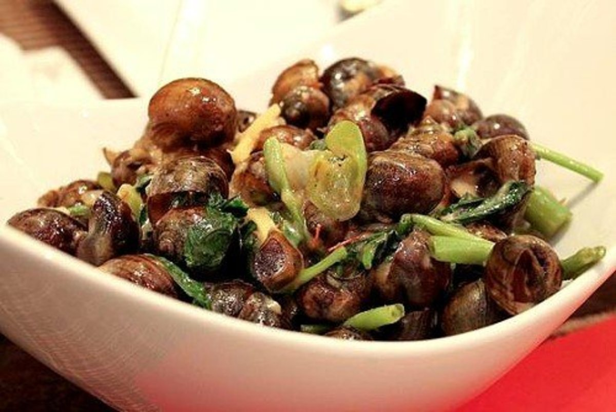 Snails simmered in coconut milk