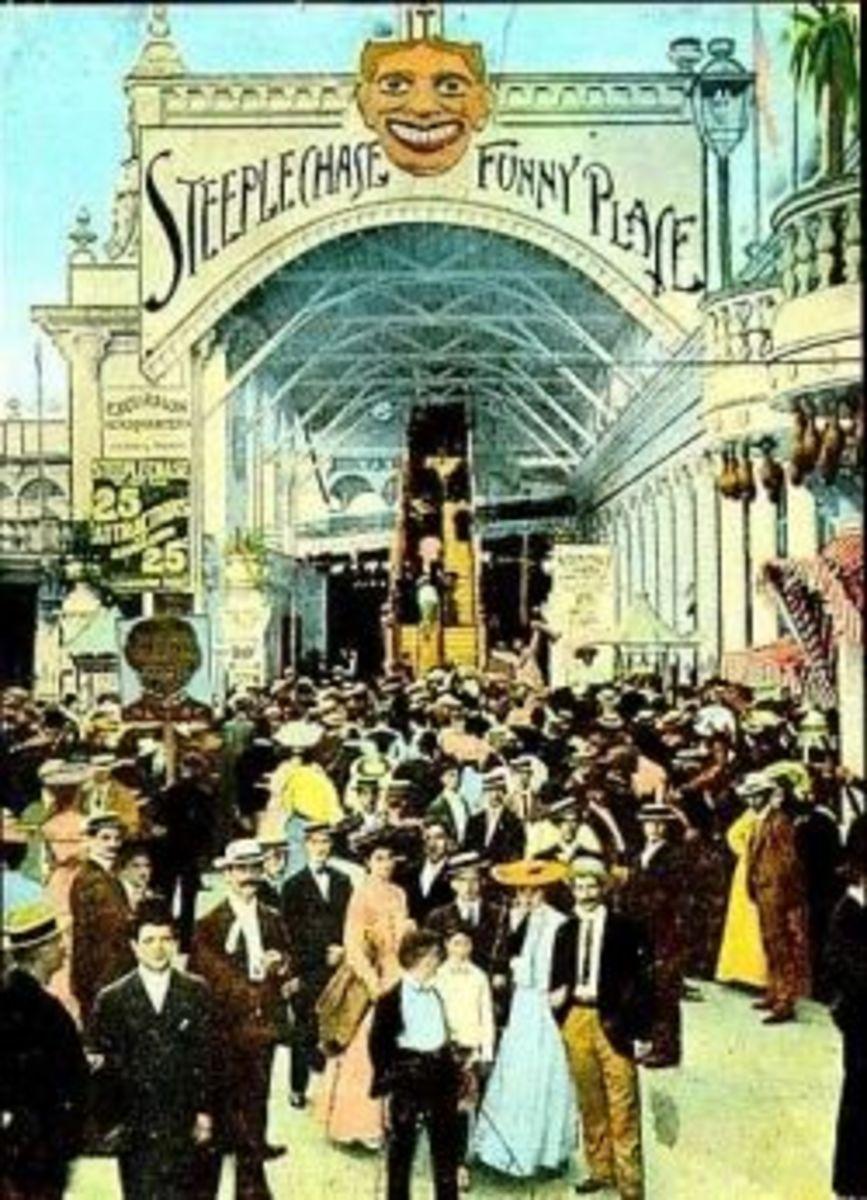 Vintage Postcard of Steeplechase Park Entrance