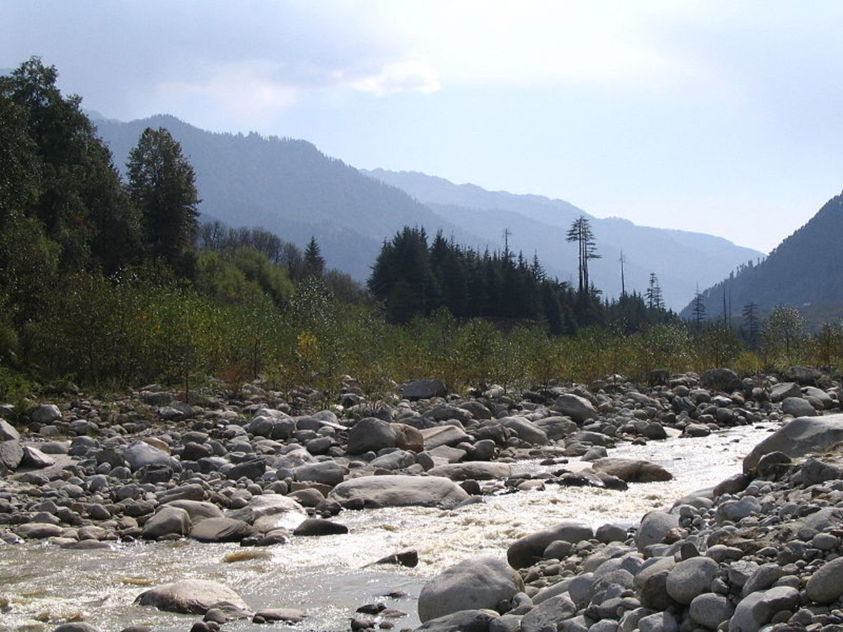 View of Manali Mountains and Beas River from Van Vihar, Manali.